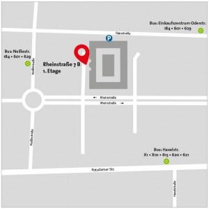 Anfahrtsplan Praxis Dr. Emami Rheinstraße 7 B, 14513 Berlin